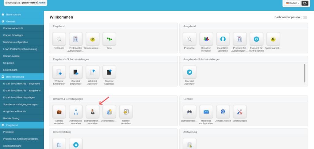 SpamExperts Reseller: Account einrichten - Domänenbenutzer Menü